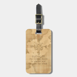 """Wanderlust..."" Traveling Quote on Vintage Paper Luggage Tag"
