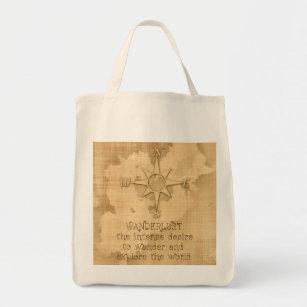 """Wanderlust..."" Traveling Quote on Vintage Paper Tote Bag"