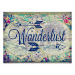 Wanderlust Vintage Map Travel Poster Wall Art at Zazzle