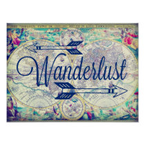 Wanderlust Vintage Map Travel Poster Wall Art