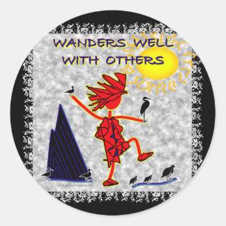 Wanders Well Round Sticker