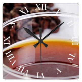 Wanduhr con Kaffeebohnen móvil 1 Reloj Cuadrado