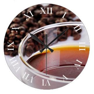 Wanduhr con Kaffeebohnen móvil 1 Reloj Redondo Grande