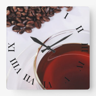 Wanduhr con Kaffeebohnen móvil 2 Reloj Cuadrado