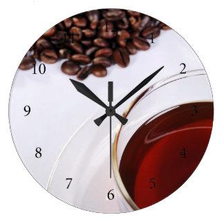 Wanduhr con Kaffeebohnen móvil 2 Reloj Redondo Grande