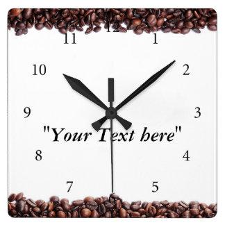 Wanduhr con Kaffeebohnen móvil y Textfeld Reloj Cuadrado