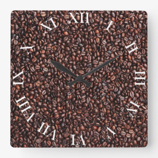 Wanduhr con Kaffeebohnen móviles Reloj Cuadrado