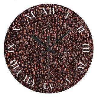 Wanduhr con Kaffeebohnen móviles Reloj Redondo Grande