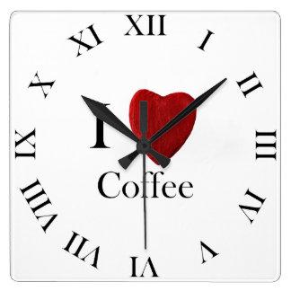 Wanduhr i Coffee love Reloj Cuadrado