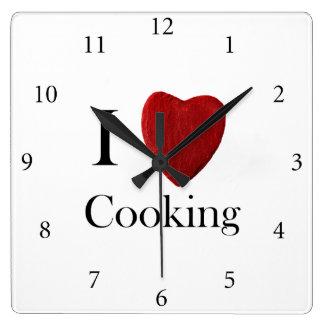 Wanduhr i Love Cooking Reloj Cuadrado