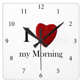 Wanduhr i Morning love my Reloj Cuadrado