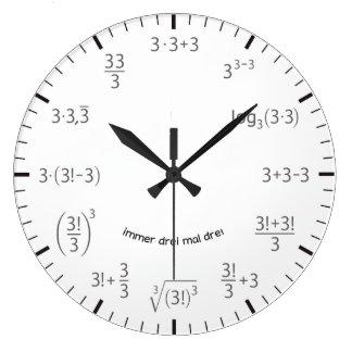 Wanduhr matemáticas reloj 3 x 3 Tres pintas Tres