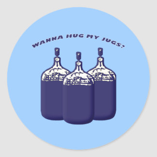 Wann Hug My Jugs Classic Round Sticker