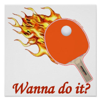 Wanna Do It Flaming Ping Pong Poster