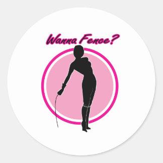 Wanna Fence? Round Sticker