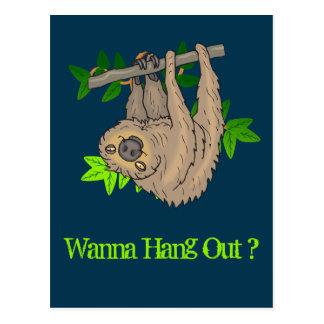 Wanna hang Out? Sloth Hanging Upside Down Postcard