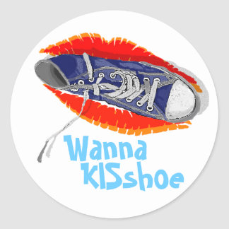 Wanna KISshoe Classic Round Sticker