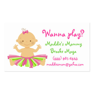 Wanna play? Mommy playdate card for baby girl. Double-Sided Standard Business Cards (Pack Of 100)