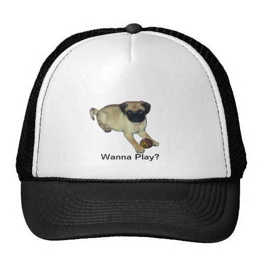 Wanna Play? Pug Puppy Trucker Hat