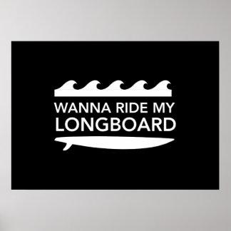 Wanna Ride My Longboard Poster