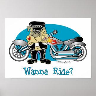 Wanna Ride? Retro Biker Pug Posters