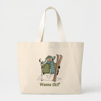 Wanna Ski? Penguin Tees and Gifts Canvas Bags