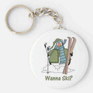 Wanna Ski? Penguin Tees and Gifts Key Chains