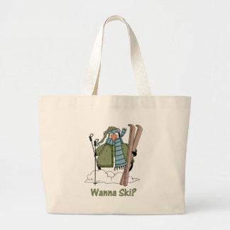 Wanna Ski? Penguin Tees and Gifts Large Tote Bag
