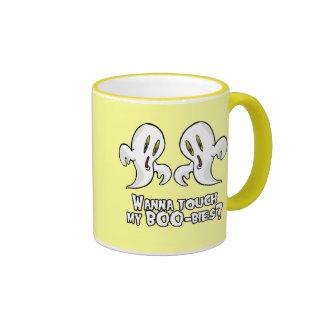 WANNA TOUCH MY BOO-BIES RINGER COFFEE MUG