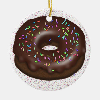 Want a Doughnut with That Coffee? Double-Sided Ceramic Round Christmas Ornament