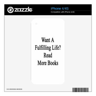 Want A Fulfilling Life Read More Books iPhone 4 Decal