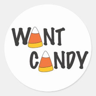 Want Candy - Halloween Treats Classic Round Sticker