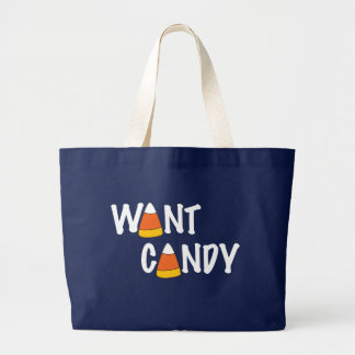 Want Candy - Halloween Treats Large Tote Bag