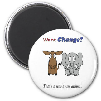 Want Change?  That's a Whole New Animal 2 Inch Round Magnet