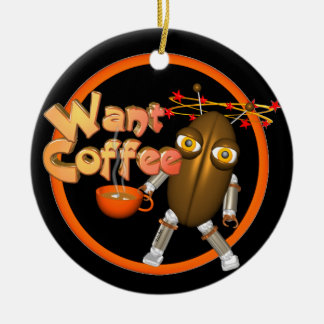 Want Coffee on 100+ products by Valxart.com Double-Sided Ceramic Round Christmas Ornament