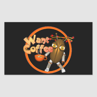 Want Coffee on 100+ products by Valxart.com Rectangular Sticker