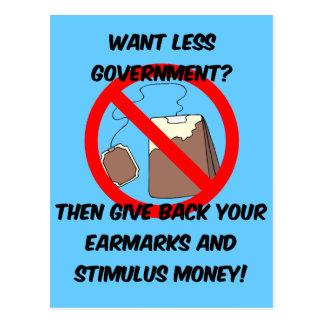 want less goverment postcard