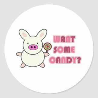 Want some candy? classic round sticker