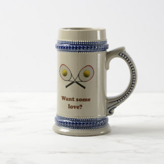 Want Some Love Tennis 18 Oz Beer Stein