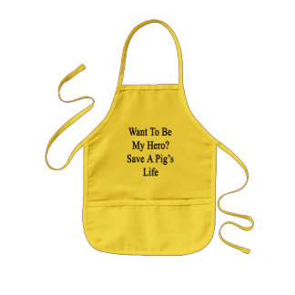 Want To Be My Hero Save A Pig's Life Kids' Apron