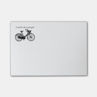 """""""Want to ride my bicycle"""" Motivational Quote Post-it Notes"""