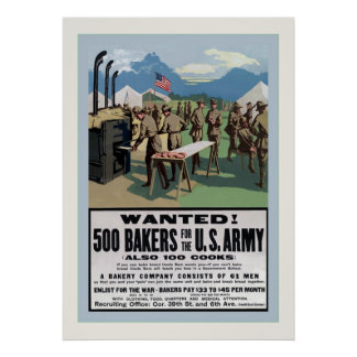 Wanted! ~ 500 Bakers ~ Vintage World War 1 Poster