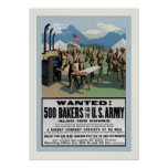 Wanted! ~ 500 Bakers ~ Vintage World War 1 Posters