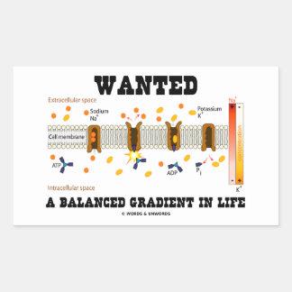 Wanted A Balanced Gradient In Life (Na-K Pump) Rectangular Sticker