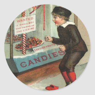 Wanted - A Boy To Lick Christmas Candy Cane Classic Round Sticker