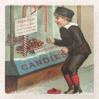 Wanted - A Boy To Lick Christmas Candy Cane Glass Coaster