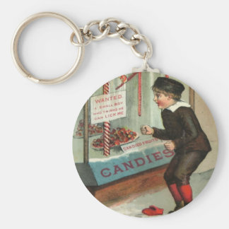 Wanted - A Boy To Lick Christmas Candy Cane Keychain