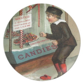 Wanted - A Boy To Lick Christmas Candy Cane Plate