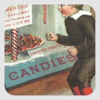 Wanted - A Boy To Lick Christmas Candy Cane Square Sticker