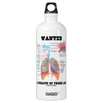 Wanted A Breath Of Fresh Air (Respiratory System) Aluminum Water Bottle